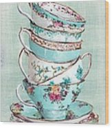 Stacked Aqua Themed Tea Cups Wood Print by Gail McCormack