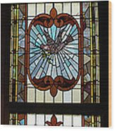 Stained Glass 3 Panel Vertical Composite 03 Wood Print by Thomas Woolworth