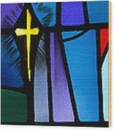 Stained Glass Cross Wood Print by Karen Lee Ensley