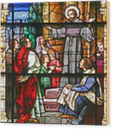Stained Glass Window Saint Augustine Preaching Wood Print by Christine Till