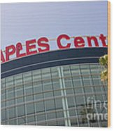 Staples Center Sign In Los Angeles California Wood Print by Paul Velgos