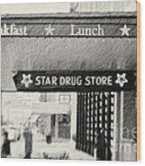 Star Drug Store Marquee Wood Print by Scott Pellegrin
