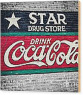Star Drug Store Wall Sign Wood Print by Scott Pellegrin