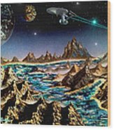 Star Trek - Orbiting Planet Wood Print by Michael Rucker
