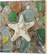 Starfish Fine Art Photography Seaglass Coastal Beach Wood Print by Baslee Troutman