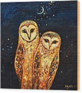 Starlight Owls Wood Print by Shijun Munns