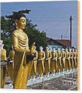 Statue Of Buddha And Disciples Are Alms Round Wood Print by Tosporn Preede