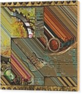Steampunk Abstract Wood Print by Liane Wright