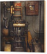 Steampunk - Back In The Engine Room Wood Print by Mike Savad