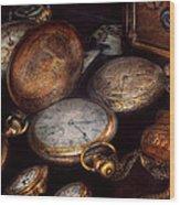 Steampunk - Clock - Time Worn Wood Print by Mike Savad