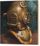 Steampunk - Diving - The Diving Helmet Wood Print by Mike Savad