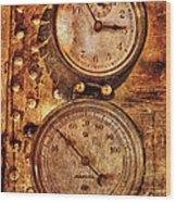 Steampunk - Gauges Wood Print by Mike Savad