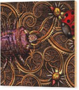 Steampunk - Insect - Itsy Bitsy Spiders Wood Print by Mike Savad