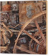 Steampunk - Machine - The Industrial Age Wood Print by Mike Savad