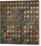 Steampunk - Phones - The Old Switch Board Wood Print by Mike Savad