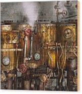 Steampunk - Plumbing - Distilation Apparatus  Wood Print by Mike Savad