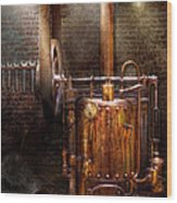 Steampunk - Powering The Modern Home Wood Print by Mike Savad