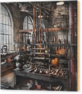 Steampunk - Room - Steampunk Studio Wood Print by Mike Savad