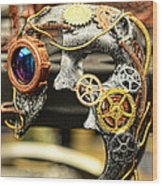 Steampunk - The Mask Wood Print by Paul Ward