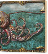 Steampunk - The Tale Of The Kraken Wood Print by Mike Savad