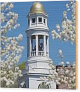 Steeple With Clock Wood Print by Allan Morrison