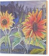 Stellar Sunflower Wood Print by Rayna DeHoog