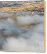 Steptoe Fog Clearing Wood Print by Mike  Dawson