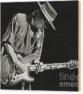 Stevie Ray Vaughan 1984 Wood Print by Chuck Spang