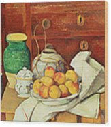 Still Life With A Chest Of Drawers Wood Print by Paul Cezanne