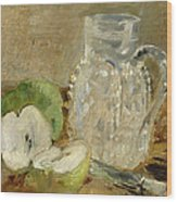 Still Life With A Cut Apple And A Pitcher Wood Print by Berthe Morisot