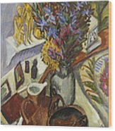 Still Life With Jug And African Bowl Wood Print by Ernst Ludwig Kirchner