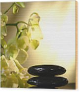 Stone Cairn And Orchids Wood Print by Olivier Le Queinec