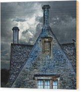 Stone Cottage In A Storm Wood Print by Jill Battaglia