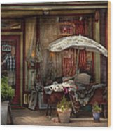 Storefront - Frenchtown Nj - The Boutique Wood Print by Mike Savad