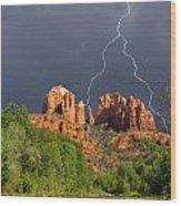 Storm Over Cathedral Rock Wood Print by Alexey Stiop