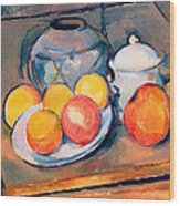 Straw Covered Vase Sugar Bowl And Apples Wood Print by Paul Cezanne