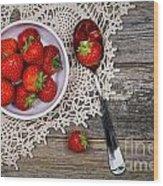 Strawberry Vintage Wood Print by Jane Rix