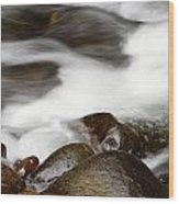 Stream Flowing  Wood Print by Les Cunliffe