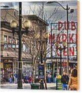 Strolling Towards The Market - Seattle Washington Wood Print by David Patterson