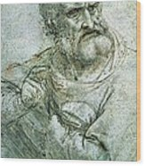 Study For An Apostle From The Last Supper Wood Print by Leonardo da Vinci