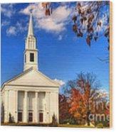 Sturbridge Church In Autumn Wood Print by Joann Vitali