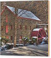 Sudbury Wintery Grist Mill Wood Print by Mark Valentine