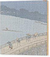 Sudden Shower On Ohashi Bridge At Ataka Wood Print by Ando Hiroshige