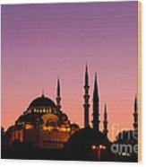 Suleymaniye Sundown 02 Wood Print by Rick Piper Photography