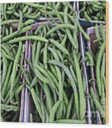 Summer Green Beans Wood Print by Kathie McCurdy