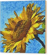 Sunflower Abstract Wood Print by Unknown