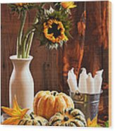 Sunflower And Gourds Still Life Wood Print by Amanda Elwell