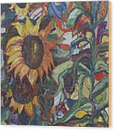 Sunflowers Wood Print by Avonelle Kelsey