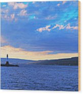 Sunrise On Cayuga Lake Ithaca New York Panoramic Photography Wood Print by Paul Ge