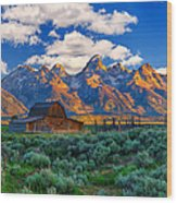 Sunrise On The Tetons Limited Edition Wood Print by Greg Norrell